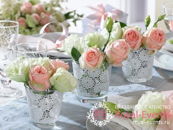 Украшение столов на свадьбу