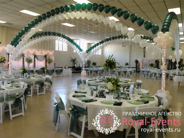 украшение зала на свадьбу шарами